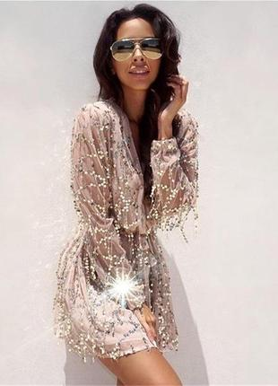 Платье фатин пайетки бежевое на резинке