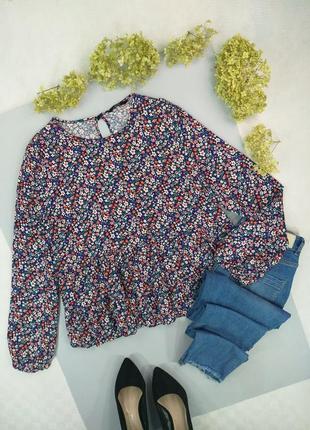 Блуза с баской в цветочный принт с длинным рукавом 16р.