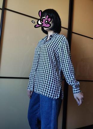 """Вискозная рубашка блуза оверсайз с принтом """"гусиная лапка"""""""