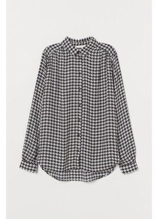 """Вискозная рубашка блуза  с принтом """"гусиная лапка"""""""