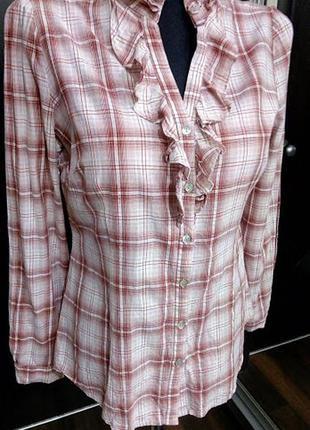Мягкая хлопковая рубашка в клетку с рюшем