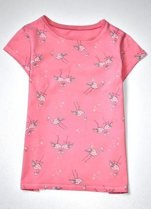 George персиково розовая футболка принт фламинго. 9-10 лет