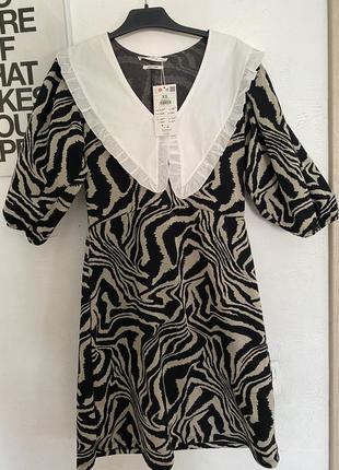 Платье с воротником в стильный принт