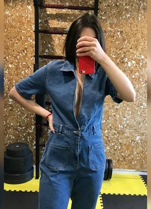 Джинсовый комбез комбинезон широкие джинсы джинсовая рубашка джинсы клёш