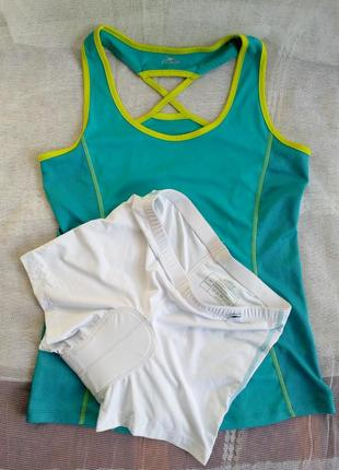 Crane женский фитнесс костюм маечка велотрусы р 38-40 бирюзовый белый