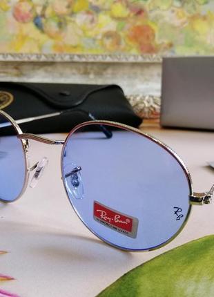 Модные солнцезащитные голубые очки унисекс в металлической оправе