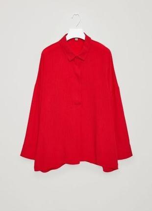 Cos красная блуза рубашка 100% хлопок капро