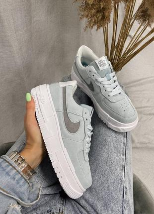 Кроссовки nike air force pixel blue suede