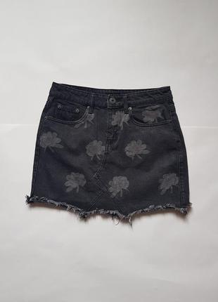 Трендовая джинсовая мини-юбка необработанным краем liquor n poker,джинсовая юбка