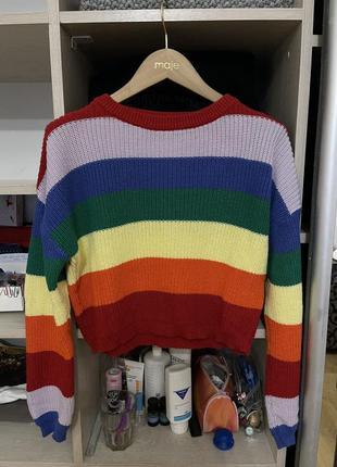 Радужный короткий свитер