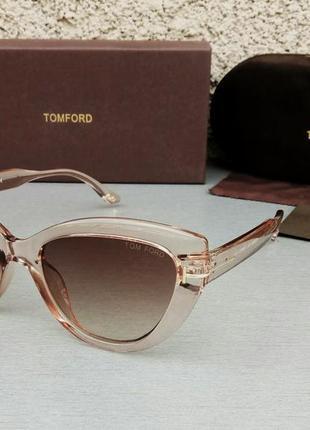 Tom ford очки женские солнцезащитные коричнево бежевые с градиентом