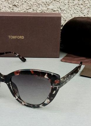 Tom ford очки женские солнцезащитные в черно бежевой пятнистой оправе