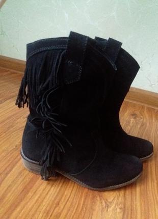 Ботинки сапоги, замшевые, осенние stradivarius
