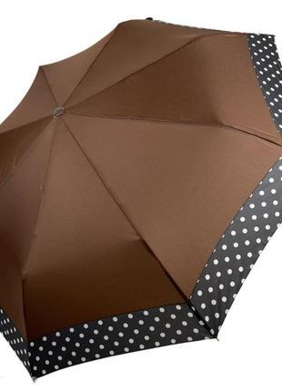 Женский зонтик-полуавтомат на 8 спиц с рисунком гороха sl коричневый