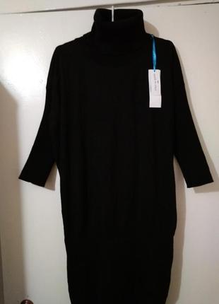 Черное зимнее теплое платье с высоким воротником размер 50 52 54