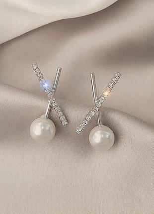Серьги минимализм с бусиной гвоздик серебро 925 / большая распродажа!
