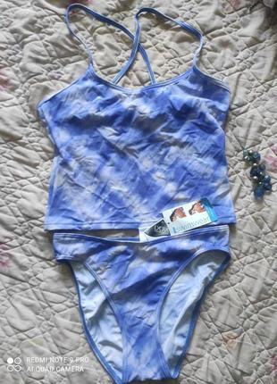 Красивый очень яркий и нежный купальник танкини : майка и плавки в бассейн пляж