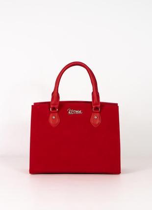 Красная замшевая деловая сумка каркасная саквояж с ручками