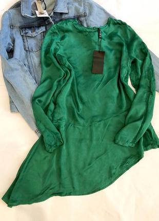 Туника блуза атлас рюша изумрудного цвета zara