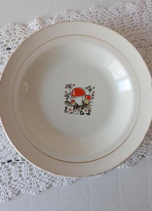 Тарелка суповая с грибами, для первых блюд, тарілка, ссср, каменнобродск
