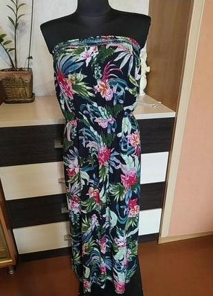 Шикарное натуральное платье бандо  peacocks
