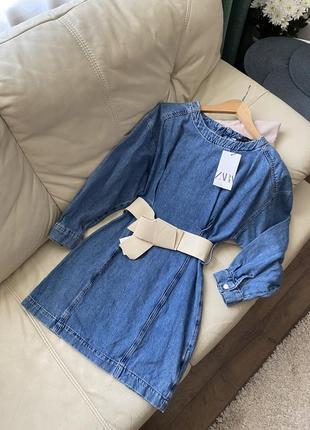 Платье джинсовое с широким поясом denim zara s