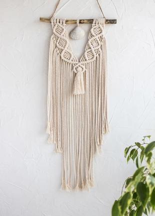 Макраме панно на стену с ракушкой/ декор для дома/ настенный декор / бохо