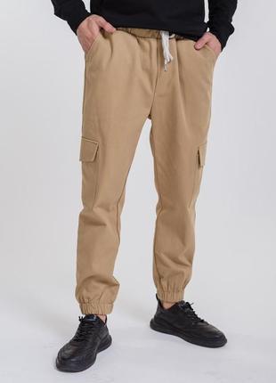 Мужские брюки-карго темно-бежевые