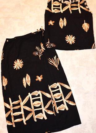 Нарядный вискозный костюм с юбки на запах и майки, италия