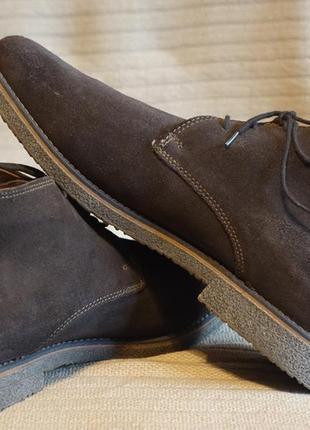 Темно-коричневые утепленные замшевые ботинки roberto santi active италия 45 р.( 31 см.)