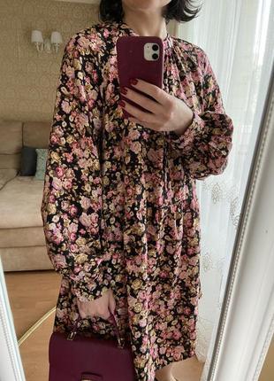Новое чайное платье баллон цветочный принт h&m троянди розы
