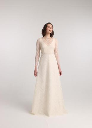 Вечернее / свадебное платье (3 в 1) из кружева цвета слоновой кости с длинными рукавами