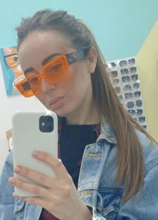 Dior очки женские солнцезащитные оранжевые прямоугольники с черепаховыми дужками