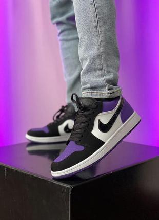 Шикарные мужские кроссовки nike air jordan 1 фиолетовые с чёрным