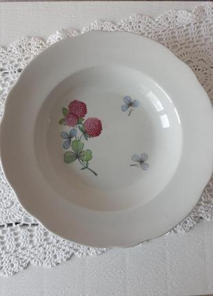 Тарелка суповая с цветами, для первых блюд, тарілка, ссср, коростень