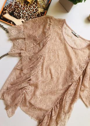 Zara пудрова кружевна блуза еска
