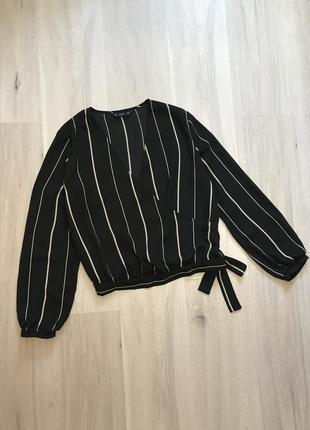 Вкорочена блузка сорочка на запах в смужку із зав'язкою / кроп рубашка в полоску с пояском