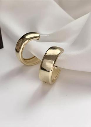 Серьги дутые кольца широкие сережки колечка золотистые ретро минимализм кульчики