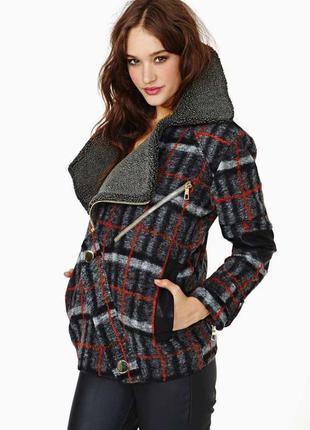 Теплое  пальто в клетку three floor madison coat