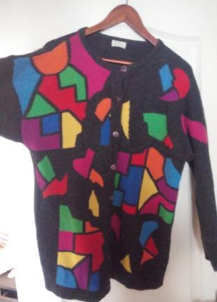 Серый кардиган с разноцветным геомертическим принтом betty barclay