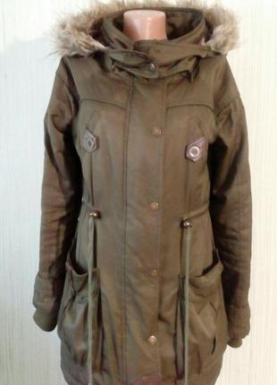 Парка-куртка с капюшоном. бренд crafted. раз.10/38/m. цвет хаки.