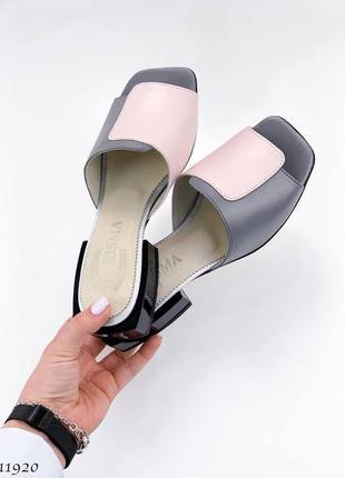 Шлепки =tiffany= цвет: grey+pink, натуральная кожа
