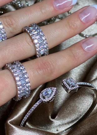 Серебряный набор шикарный стильный кольцо дорожка браслет из серебра 925 женский красивый