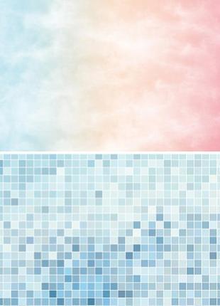 Фотофон однотонный (двухсторонний) фон для съемки фотозона фото голубая мозаика градиент