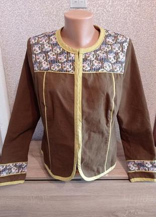 Натуральный жакет пиджак верх в цветочный принт 14р