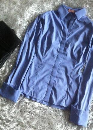 Коттоновый батник рубашка небесного лилового цвета