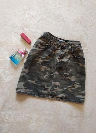 Трендовая камуфляжная юбка трапеция высокая талия