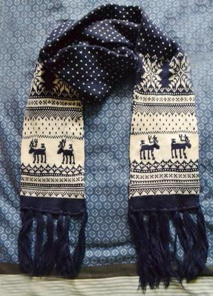 Синий зимний вязанный шарф с оленями