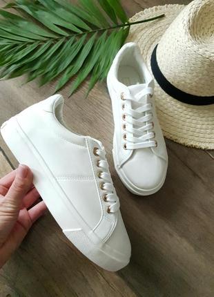 Белые женские кроссовки topshop, англия 🦋
