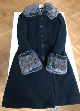 Пальто, шерсть 80%, мех искусственый, франция